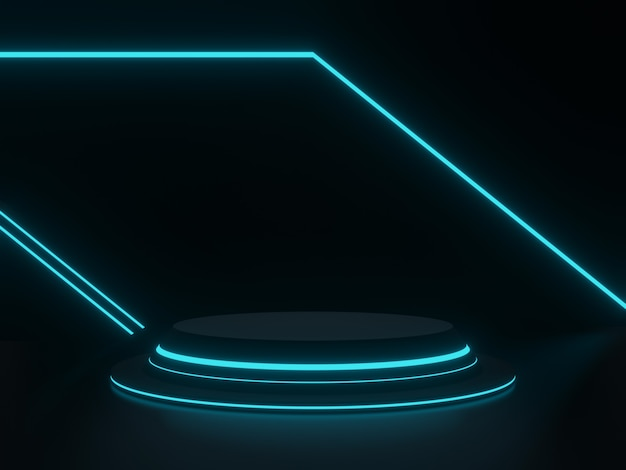 파란색 네온 불빛이 있는 3d 검은색 과학 무대
