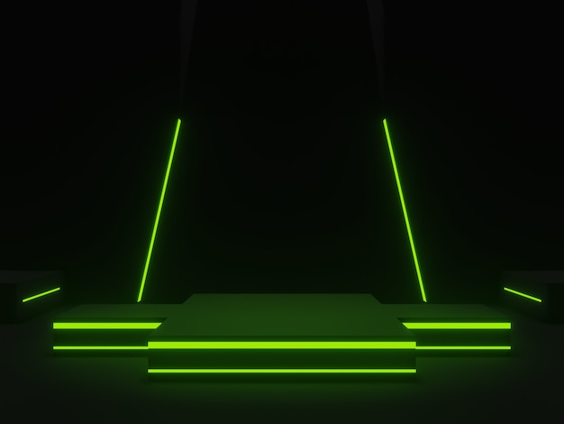 3d  black scientific stage with green neon lights
