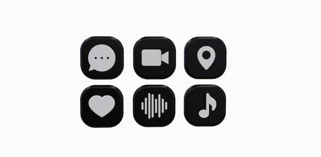 Набор иконок 3d черный социальных сетей