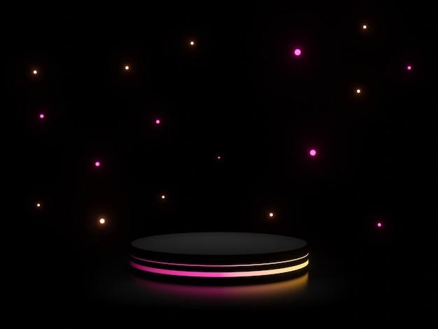그라데이션 네온 불빛이 어두운 배경이 있는 3d 검은색 스탠드