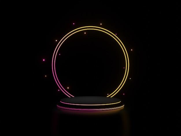 그라데이션 네온 불빛이 어두운 배경이 있는 3d 검은색 스탠드 프리미엄 사진