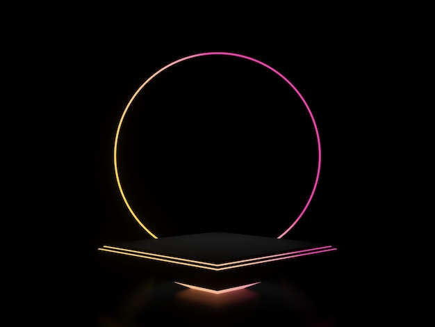 그라데이션 네온 불빛이 있는 3d 블랙 스탠드. 어두운 배경 프리미엄 사진