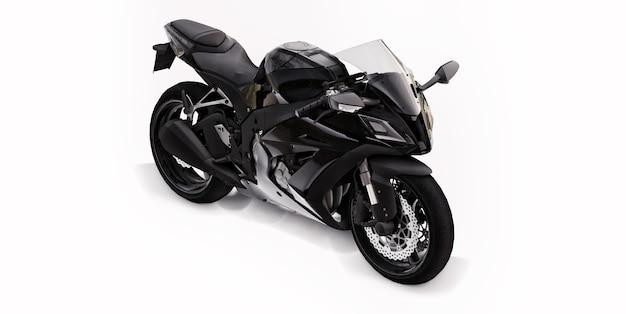3d черный супер спортивный мотоцикл на белом фоне изолированных. 3d иллюстрации.