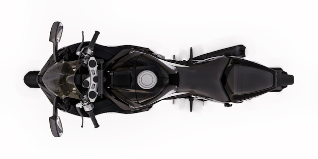 3d black super sports motorbike on white isolated background. 3d illustration.