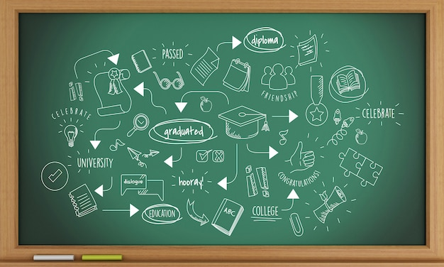 3d blackboard background with graduation sketch