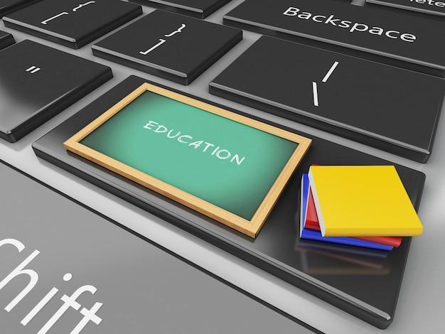 3d blackboard and books on computer keyboard.
