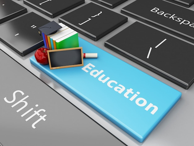 3d blackboard, graduation cap and books on computer keyboard.