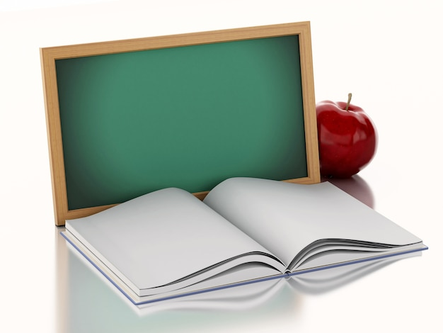 3d blackboard with open book and a red apple.