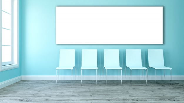 3d blank canvas in an room with line of chairs