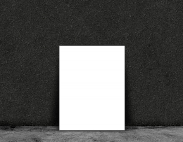 3d blank card or poster on a in a grunge room interior