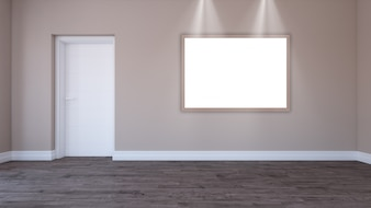 3D blank picture frame in an empty room