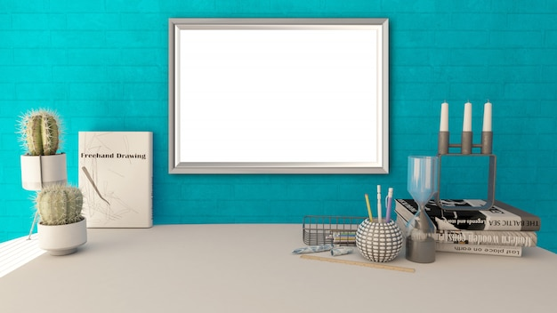 3d blank picture frame in a modern home office