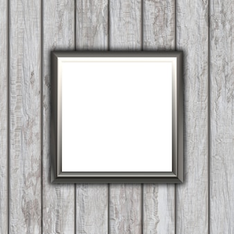 3D blank picture frame on a wooden texture background