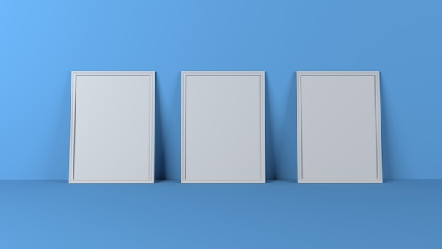 3d blank picture frames on empty wall