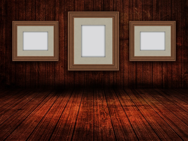 3d blank picture frames in a grunge room interior