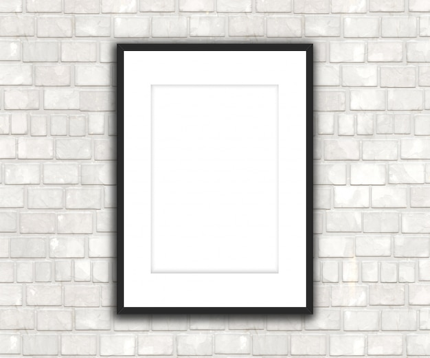 3d blank picture hanging on a brick wall
