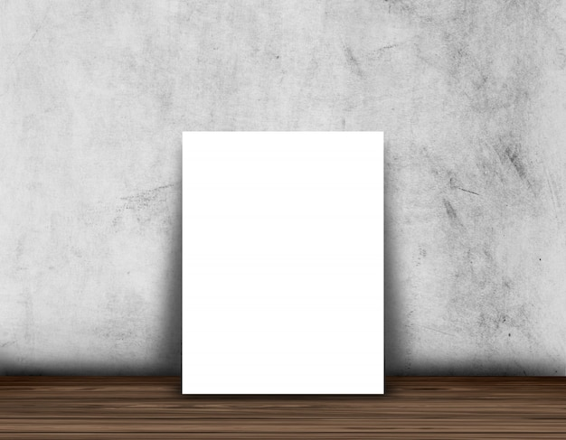 3d blank poster or photo frame on a wood floor against a concrete wall