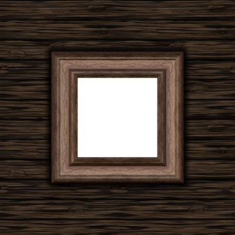 3D blank wooden picture frame on a wooden texture background