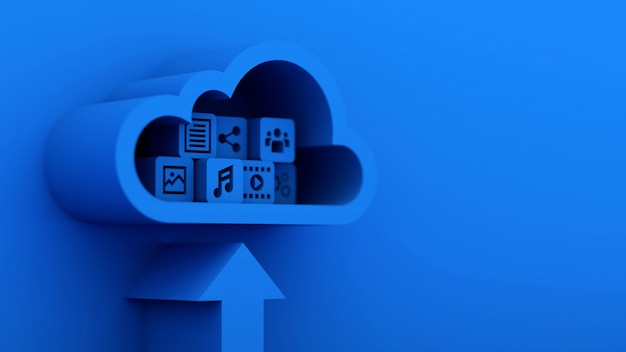 3d blue arrow and cloud with cubes