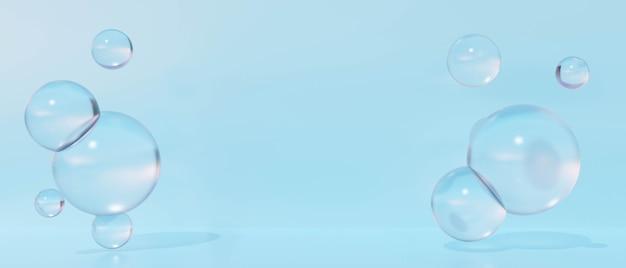 3d青い背景の抽象的な泡の水。 3dレンダリングデザイン。