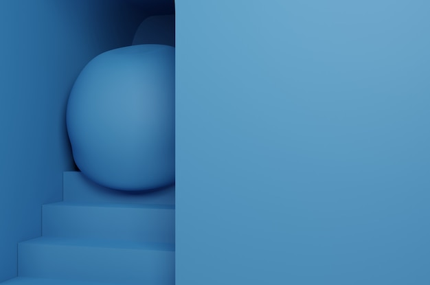 3d blue ball and stairs background