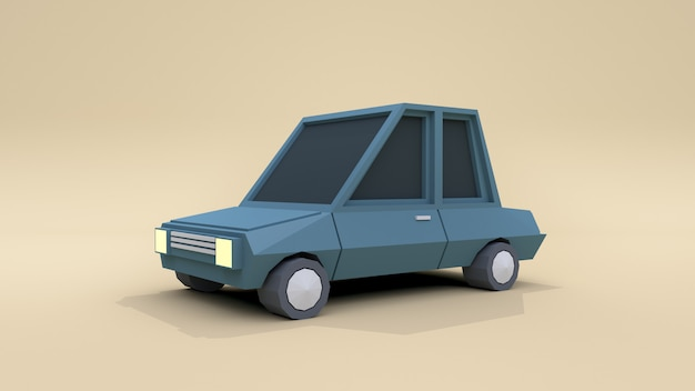3d blue car low poly cartoon style 3d rendering soft brown background