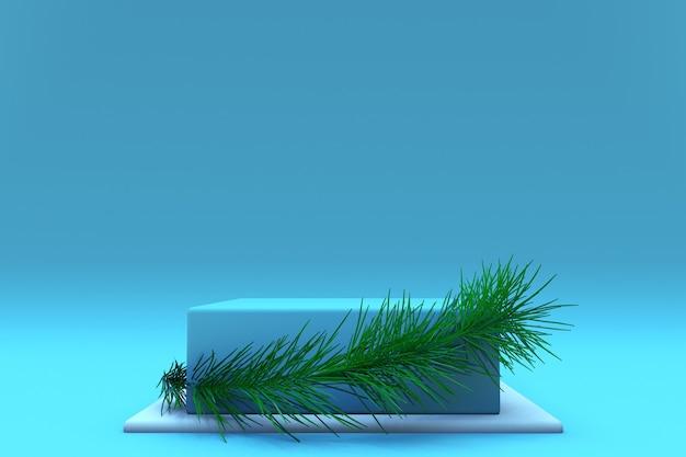 3d 블루 크리스마스 배경 광장 연단 디스플레이 가문비 나무 분기와 최소한의 기하학적 모양