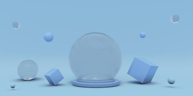 연단과 최소한의 장면이 있는 3d 파란색 디스플레이 제품 제품 프레젠테이션 모의 무대 받침대