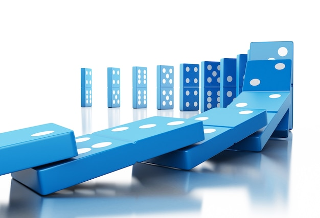 3d blue domino tiles falling in a row