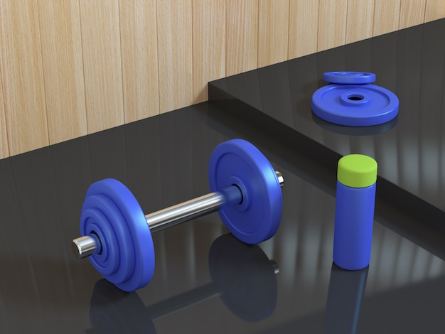 3d blue dumbbell with bottle