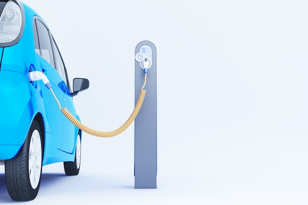 3d blue electric car charging at the charger station. 3d rendering.