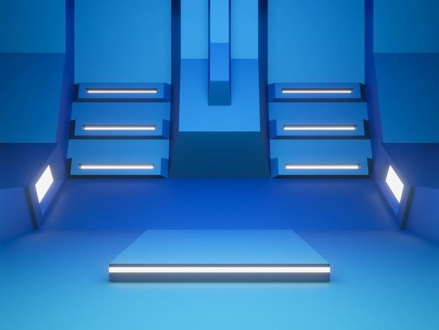 3d синий футуристический этап с белым светом.