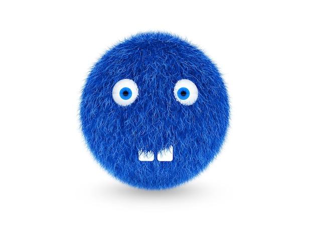 3d синий волосатый монстр смешной, с зубами на белом фоне. 3 d рендеринг