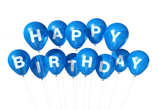 3d blue happy birthday balloons isolated on white