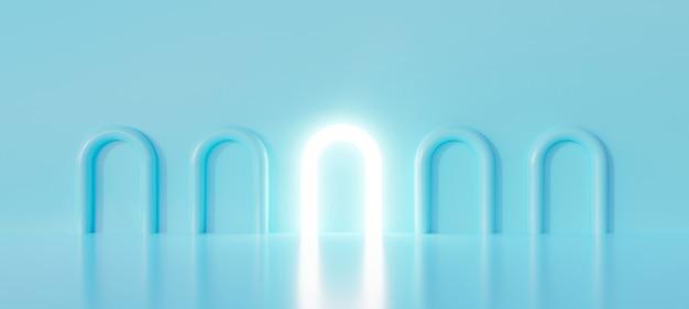3d голубая лампочка на пастельном фоне. 3d визуализация для творческой идеи лампы.