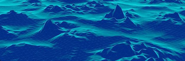 3d синий низкополигональный топографический ландшафт.