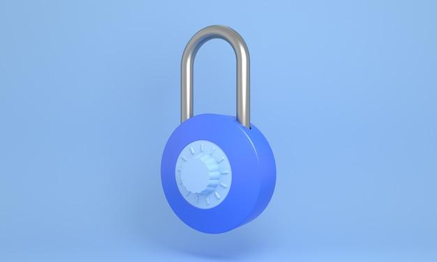 3dブルーパステルクローズド南京錠ミニマリストスタイルロックセキュリティ安全ロックアイコン