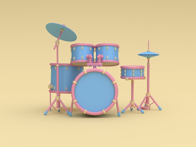 3d blue-pink drum set cartoon style yellow background 3d rendering