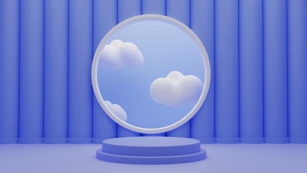 3d синий подиум постамент стенд продукты с облаками на фоне