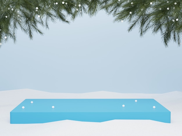 3d blue podium on snow with christmas tree