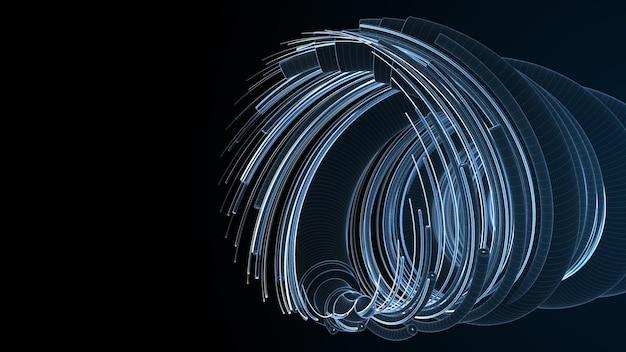 3d 블루 렌더링 기술 배경입니다. 복잡한 구조의 광섬유 인터넷 케이블의 개념. 와이어프레임 렌더.