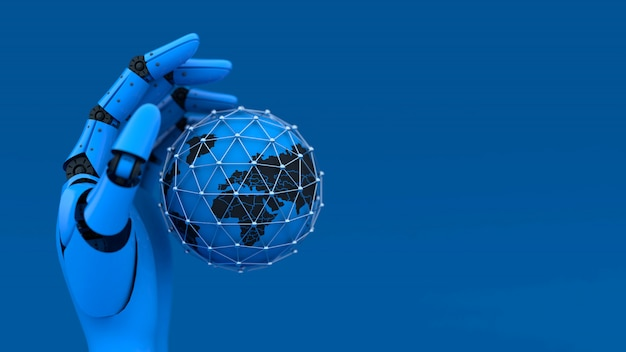 3d blue robot hand and globe