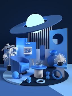 3d 블루 룸 렌더링 장면 개념 홈 디자인 추상적 인 기하학적 모양 미묘한 색상 3d
