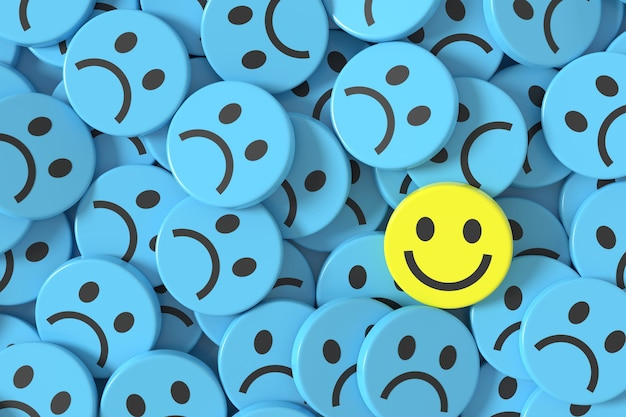 3d 블루 슬픈 얼굴 이모티콘과 배경 디자인에 하나의 행복 노란색.