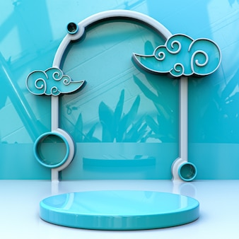 3d blue sky cloudy product stage background