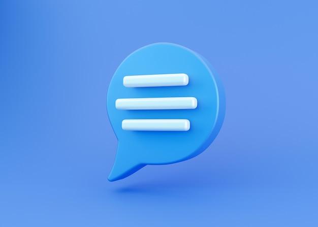 3d синий значок чата речи пузырь, изолированные на синем фоне. творческая концепция сообщения с копией пространства для текста. сообщение или комментарий символ чата. концепция минимализма. 3d визуализация иллюстрации