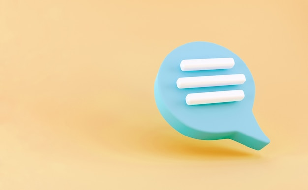 3d blue speech bubble chat icon isolated on yellow background. message creative concept with copy space for text. communication or comment chat symbol. minimalism concept. 3d illustration render