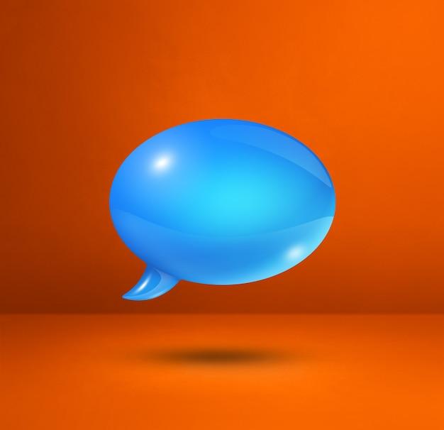 주황색 사각형 배경에 고립 된 3d 파란색 연설 거품
