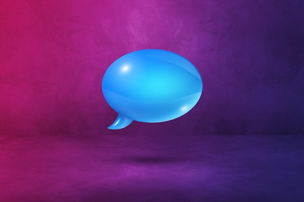 紫色の背景に分離された3d青い吹き出し