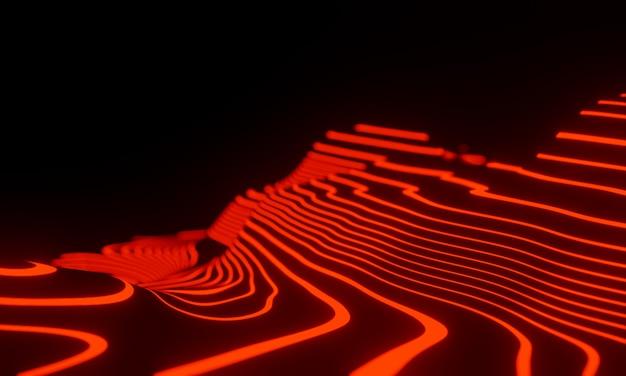 3d 흐리게 추상 빨간색과 검은색 지형입니다.